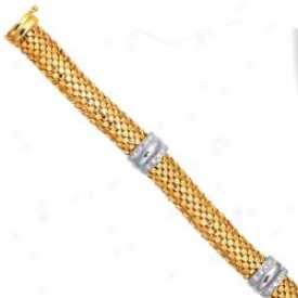 14k Two-tone Fancy Design Bracelet - 7.25 Inch