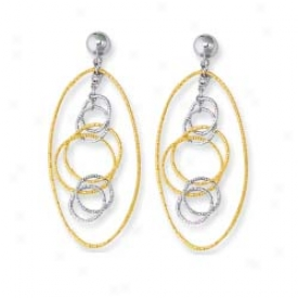 14k Two-tone Fancy Design Hoop Earrings