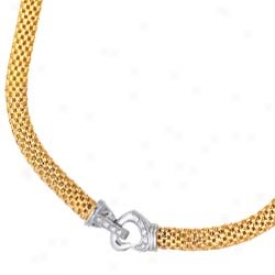 14k Two-tone Fancy Design With Heart Lock Necklace - 18 Inch