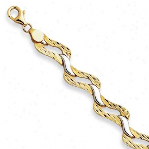 14k Two-tone Fancy Diamond-cut Bracelet - 7.5 Inch
