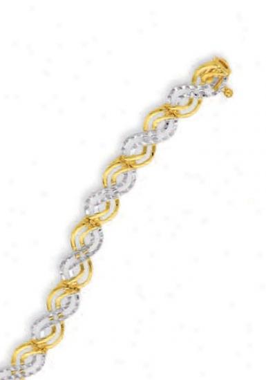 14 Two-tone Fancy Diamond-cut Celtic Bracelet - 7 Inch
