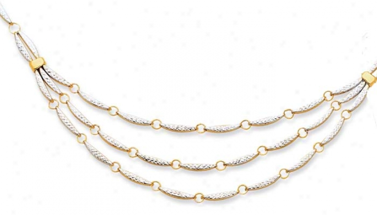 14k Two-tone Fancy Diamond-cut Link Necklace - 18 Inch