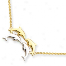 14k Two-tone Fancy Dolphhin Necklace - 17 Inch