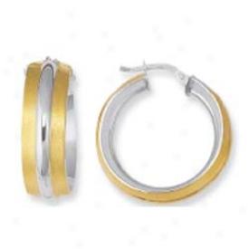 14k Two-tone Fancy Hoop Earrings