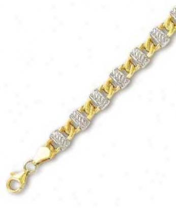 14k Two-tone Fancy Link Bracelet - 7.25 Inch