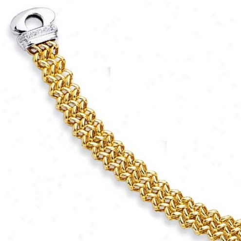 14k Two-tone Fancy Link Bracelet - 7.5 Inch