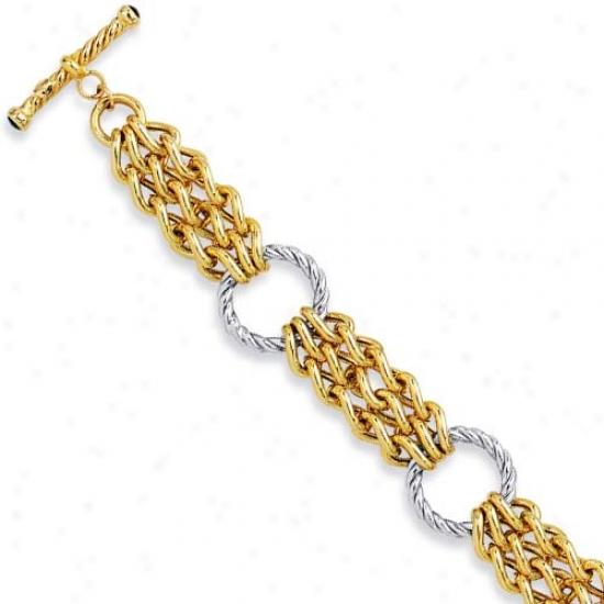 14k Two-tone Fancy Libk Design Bracelet - 7.5 Inch
