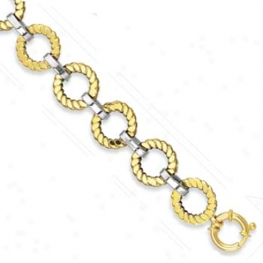 14k Two-tone Fancy Link Spring Clasp Bracelet - 8 Inch