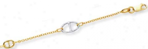 14k Two-tone Notion Mariner Anklet - 10 Inch