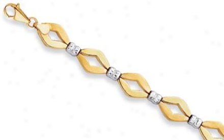 14k Two-tone Fancy Open Link Bracelet - 7.5 Inch