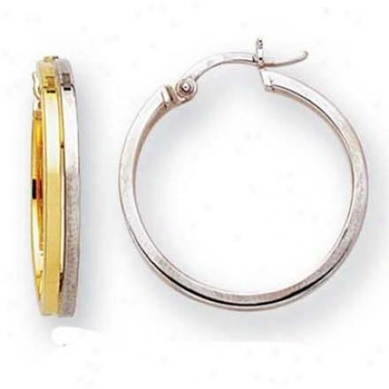 14k Two-tone Fancy Round Hoop Earrings