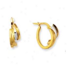 14k Two-tone Fancy Three Circle Hoop Earrings