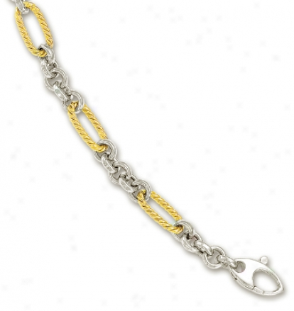 14k Two-tone Fancy Twirl Link Bracelet - 7.5 Inch