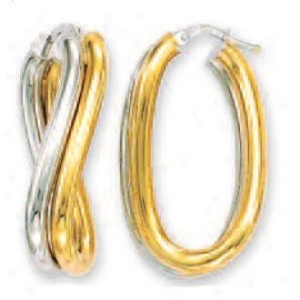 14k Two-tone Fancy Twisted Hoop Earrings