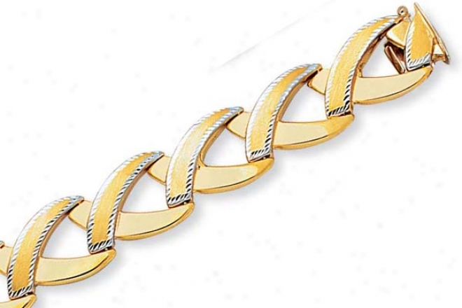 14k Two-tone Fancy X Link Bracelet - 7.5 Inch