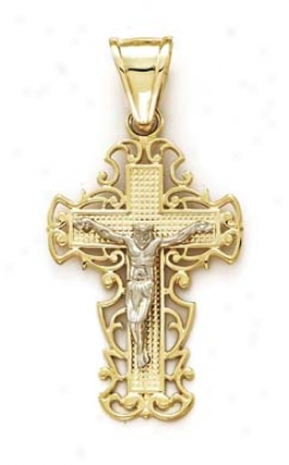 14k Two-tone Filigree Cross Pendant