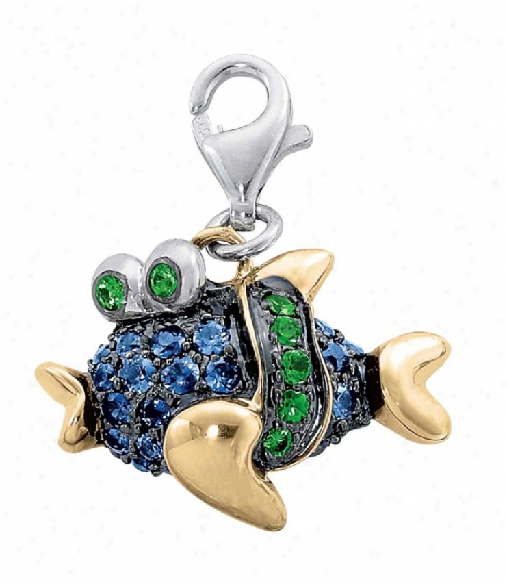 14k Two-tone Fish Round 1.5 Mm Blue Attraction