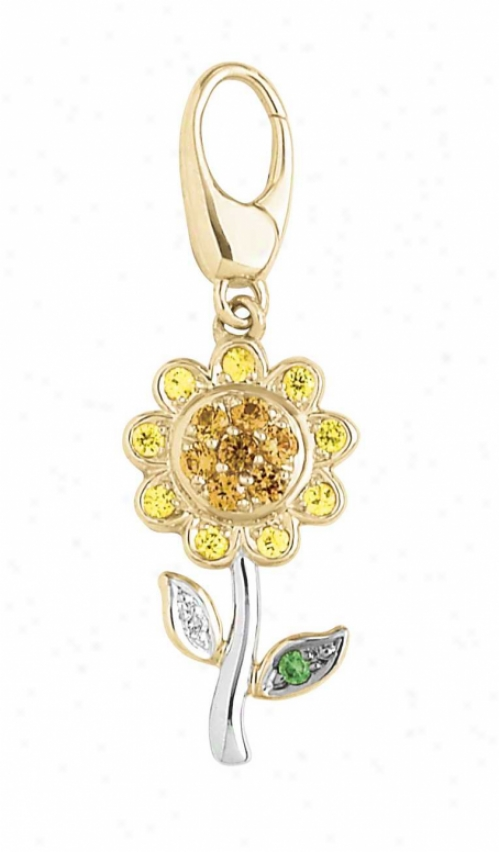 14k Two-tone Flower 1.5 Mm Green Garnet And Diamond Charm