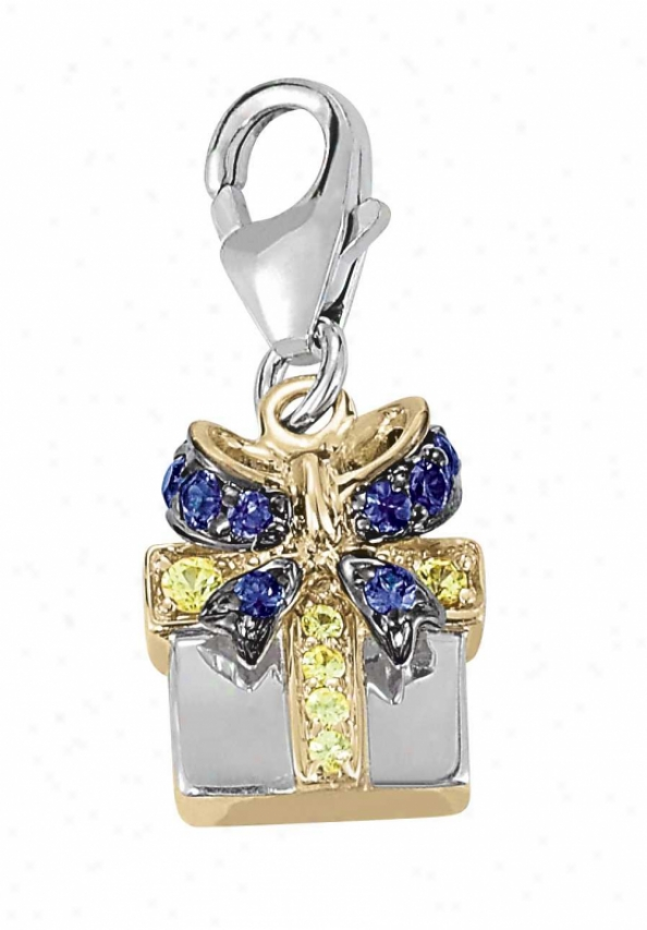 14k Two-tone Gift Basket Round 1.5 Mm Sapphire Charm