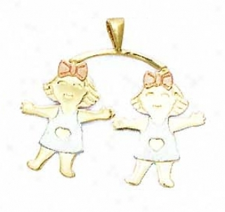 14k Two-tonee Girl-girl Pendant