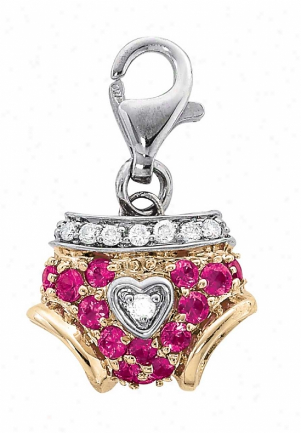 14k Two-tond Girl Pants Pink Sapphire And Diamond Charm