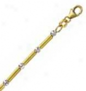 14k Two Tone Gold Wy 7 Inch X 3.0 Mm Tubetto Chain Bracelet