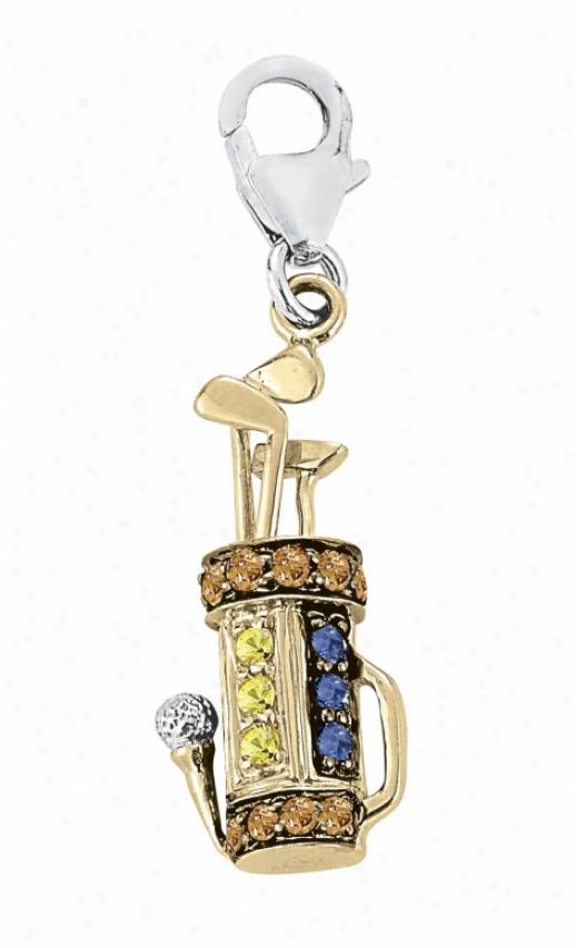 14kk Two-tone Golf Round 1.5 Mm Sapphire Charm