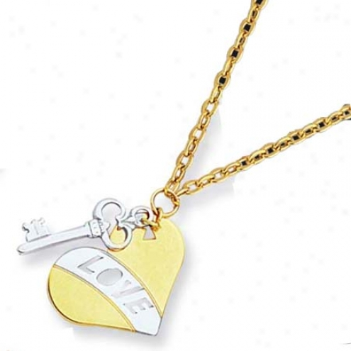 14k Two-tone Heart And Key Love Necklace - 17 Inch