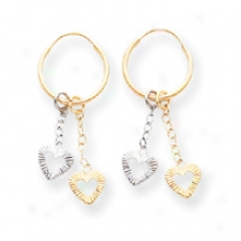 14k Two-tone Heart Dangles On Endless Hoop Earrings