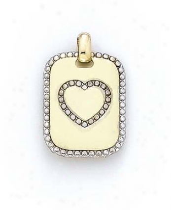 14k Two-tone Heart Dog Tag Pendamt