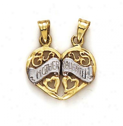 14k Two-tone Heart Mom And Daughter Pendant