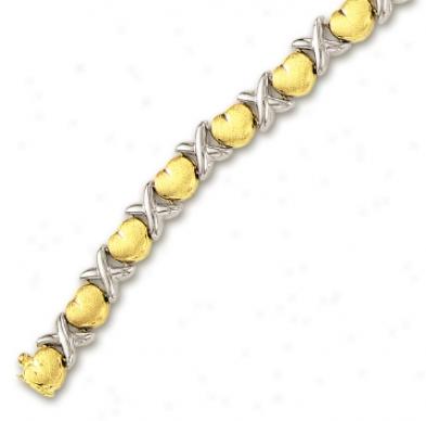 14k Two-tone Hugs And Kisses Matt Heart Bracelet - 8 Inch