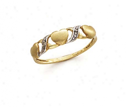 14k Two-tone Hugs Kisses Ring