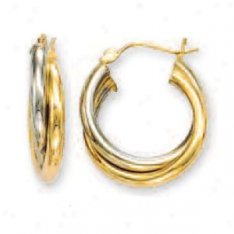 144k Two-tone Intertwined Large Hoop Earrings
