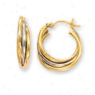14k Two-tone Intertwined Medium Hoop Earrings