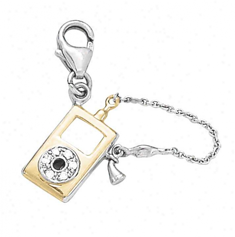 14k Two-tone Ipod Circle 1.5 Mm Diamond Charm