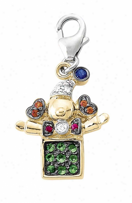 14k Two-tone Jack In The Box Green Garnet And Diamond Charm