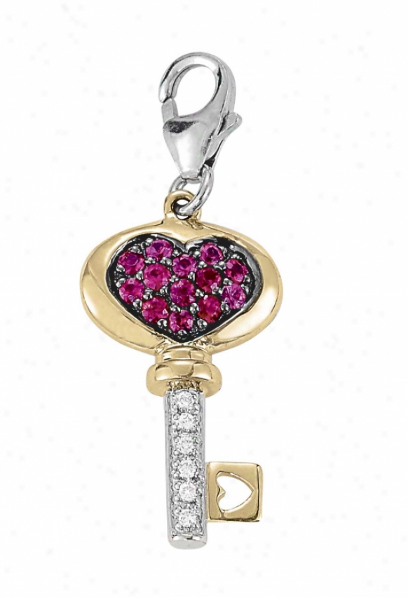 14k Two-tone Key Spherical 1.5 Mm Ruby And Diamond Charm
