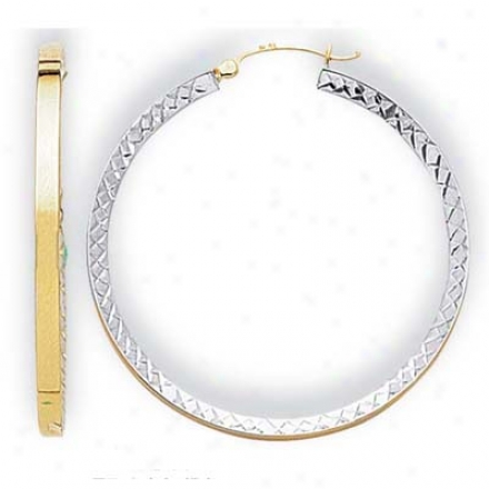 14k Two-tone Big Diamond-cut Hoop Earrings