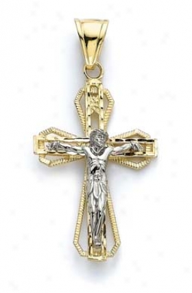 14k Two-tone Largge Double Layer Cross Pendant