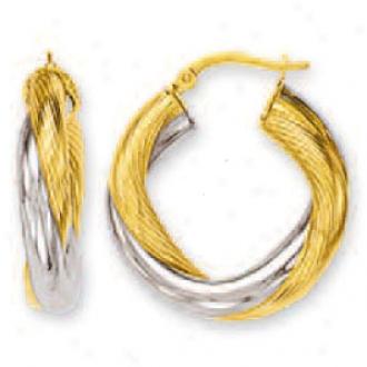 14k Two-tone Large Swirl Hoop Earrings