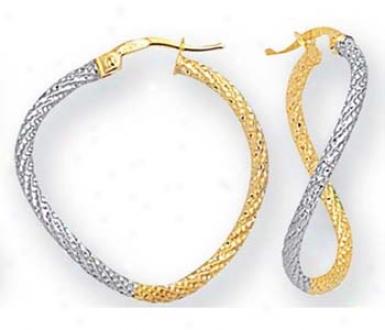 14k Two-tonee Large Twisted Design Hoop Earrings
