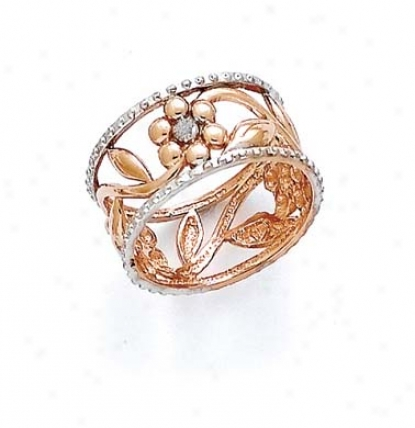 14k Two-tone Laser Blossom Ring
