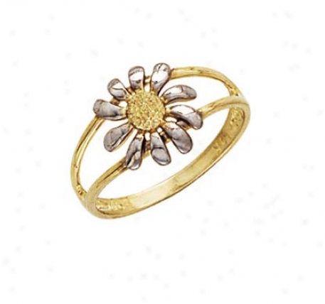 14k Two-yone Lser Rhodium Flower Ring