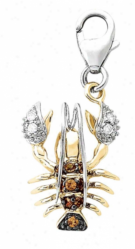 14k Two-tone Lobster Orange Sapphire And Diamond Charm