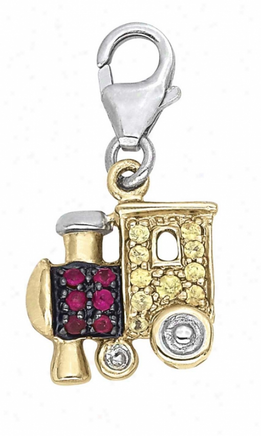 14k Two-tone Lokomotive Round 1.5 Mm Ruby Charm
