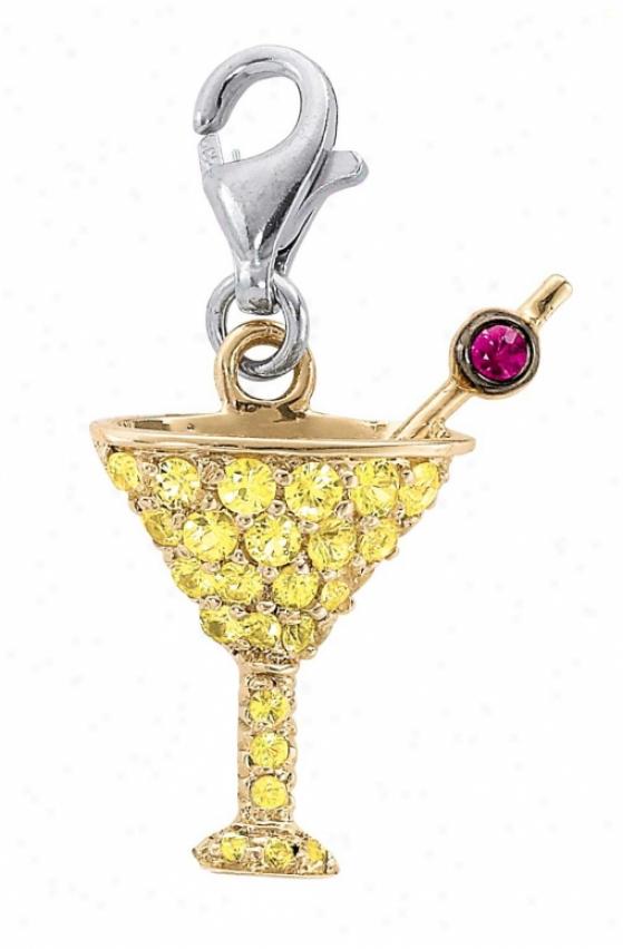 14k Two-tone Martini Glass Round 1.5 Mm Ruby Charm