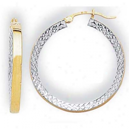 14k Two-tone Medium Diamond-cut Hoop Earrings