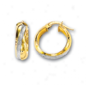 14k Two-tone Middle Hoop Earrings