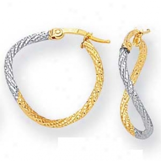14k Two-tone Medium Twisted Desihn Hoop Earrings